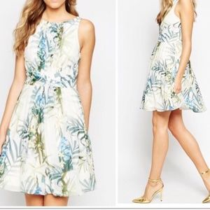 Ted Baker Ameda Pleat Floral Print Dress US 12